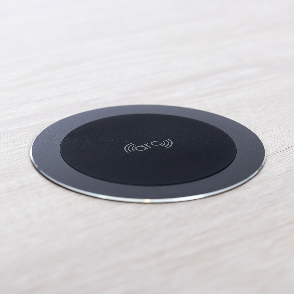 wireless charger, fast wireless charger, fast in surface wireless charger, flush wireless charger, wireless charging grommet, in desk wireless charger