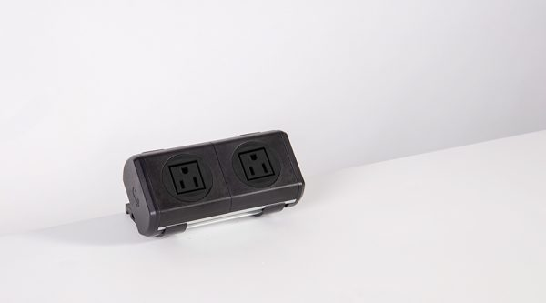 all black power unit with nema power and twin usb fast charger, for work surfaces,