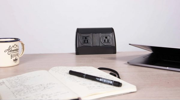 on surface, nema and USB fast charger black