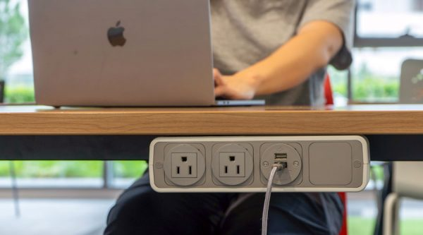 edge mounted power unit with nema sockets and USB charging