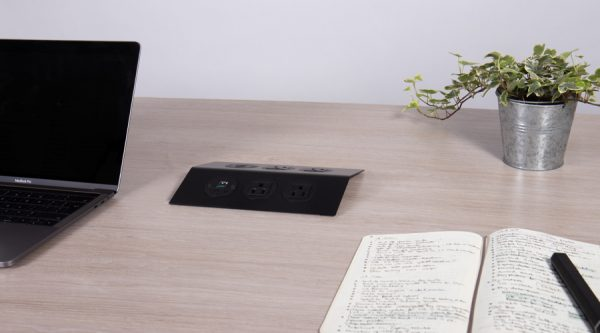 low profile all black power unit with nema sockets and USB charging
