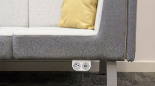 under sofa power, under sofa usb, sofa with USB Charging, fast charger in sofa, stylish sofa and charging unit