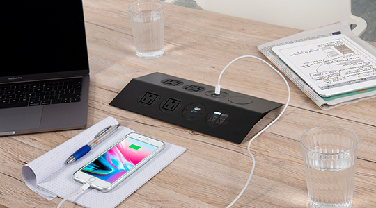 sleek on surface power, meeting room power, flexible workspace power units