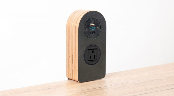 ply on surface, hip award winner charging unit black birch ply wood