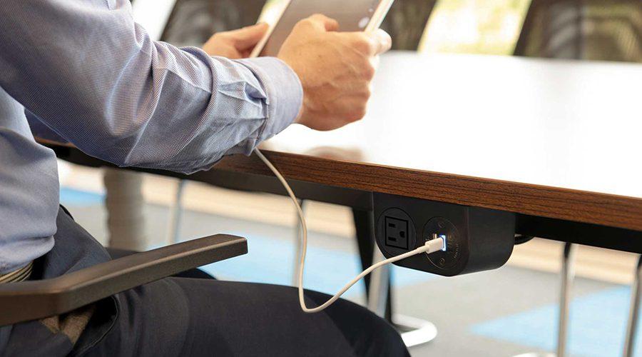 sleek under surface power, under desk power, under table power, mounted power, under surface usb and nema, accessible power