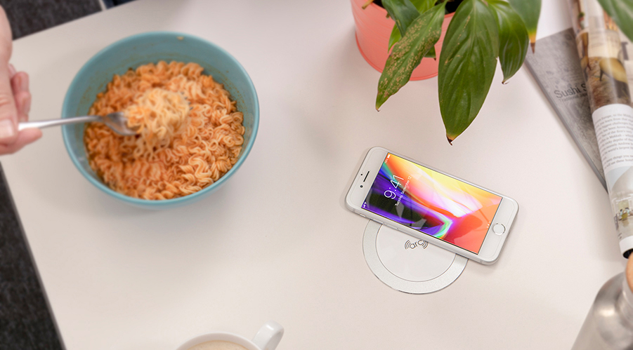 wireless charging, fast wireless charger, stylish wireless charger, sleek wireless charger, flush wireless charger,