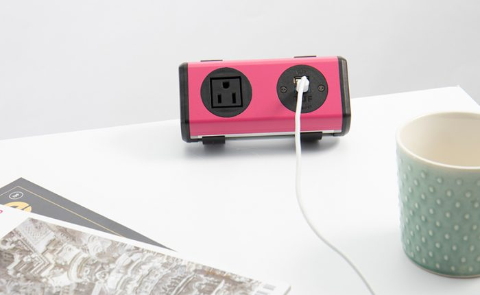 bright pink colorful power unit with nema power and twin usb fast charger, for work surfaces,