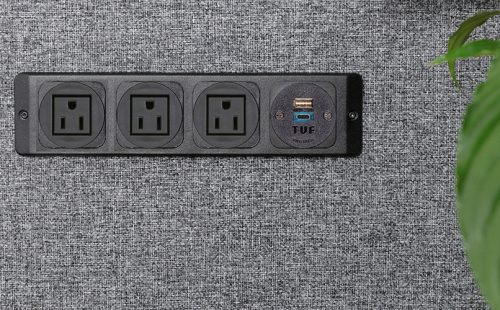 screen mounted power unit nema sockets and usb fast charger black