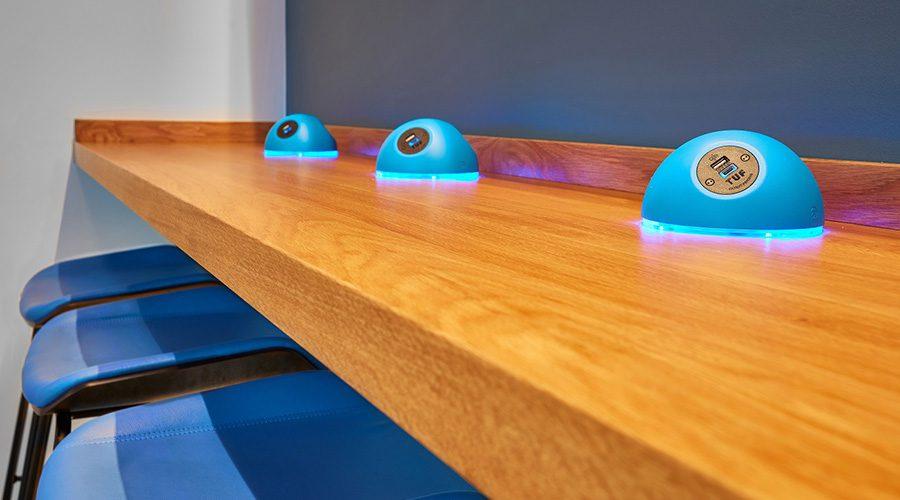 custom designed power units with LED lights, usb fast charging, blue power units