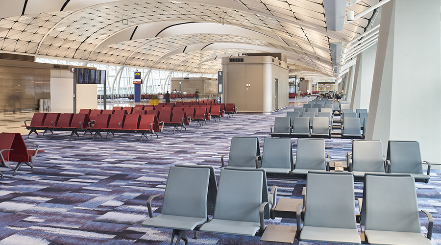 airport charging units, seating, seats with charger, powered seats, airport charging,