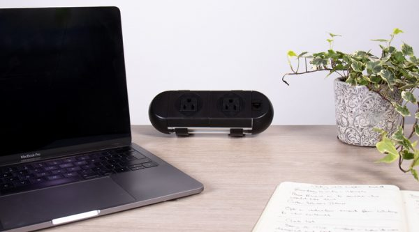 on surface power unit, all black, nema power sockets and twin usb fast charger