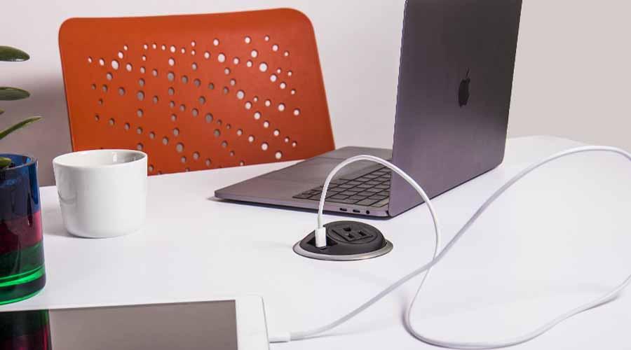 in desk power unit, desk mounted power, usb mounted in desk, sleek power unit