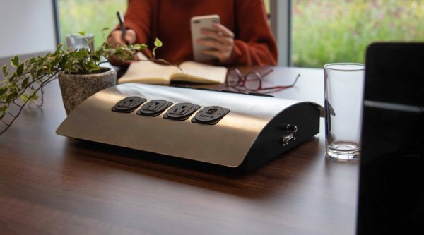 large powered desk, table with power, meeting room power,