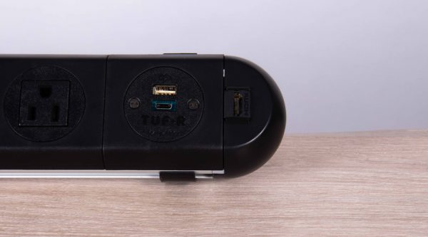 black HDMI endocaps on power unit with twin USB fast charger and nema sockets