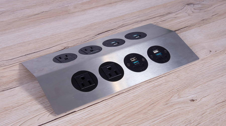 stainless steel low profile accessible power unit with nema power and USB Charging