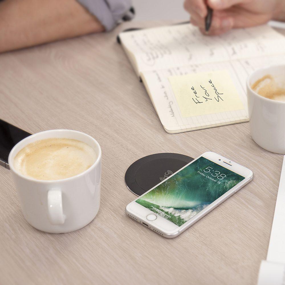 convenient wireless charging on desk power