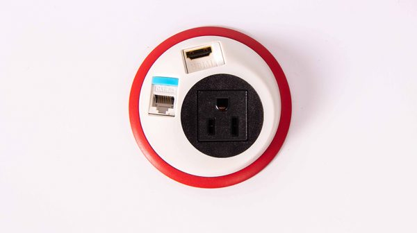in surface black and red power unit with nema socket and data. mount in surfaces in table, workspace, work surface