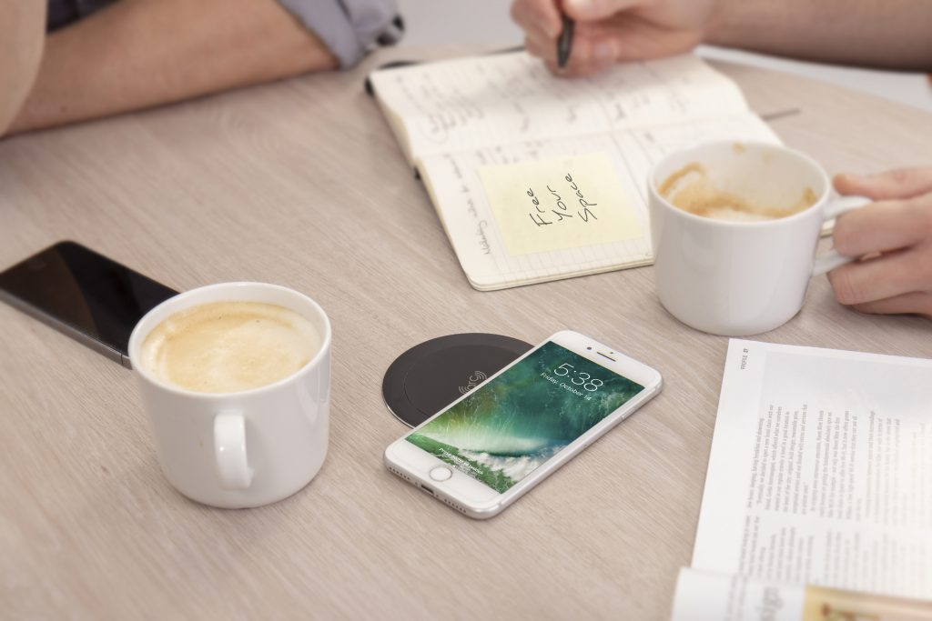 black wireless charger, flush wireless charger, fast wireless charger, iPhone wireless charger, android wireless charger, wireless charger for hospitality, coffee shop wireless charger, cafe wireless charger,