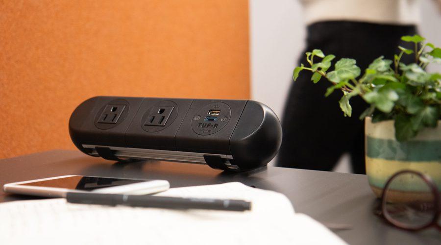 black on surface power unit, black power unit, nema and USB Charging power, home office power,