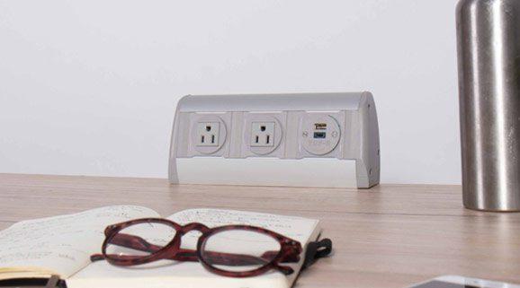 on surface power unit gray with nema sockets
