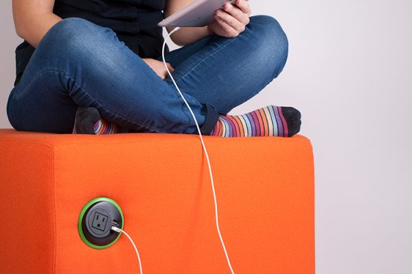 sofa mounted power unit, seat mounted power unit, in surface power unit, mounted usb charger, soft seating electrics,