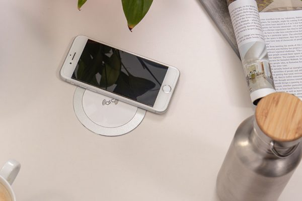 Arc-80 wireless charger, wireless fast charger, flush fast charger, agile workspaces, hospitality design, interior design, wireless charger for cafes, wireless charger coffee shops,